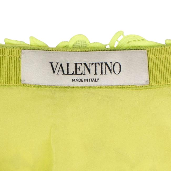Valentino Floral Embroidered Polyester Pleated Detail Mini Skirt Neon Yellow Image 4
