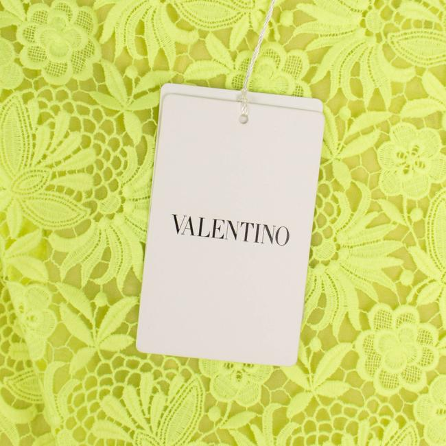 Valentino Floral Embroidered Polyester Pleated Detail Mini Skirt Neon Yellow Image 5