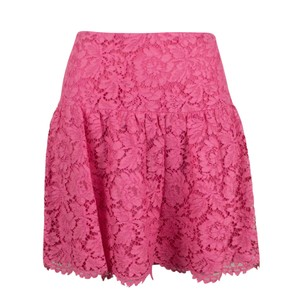 Valentino Lace Floral Embroidered Scalloped Cotton Mini Skirt Pink