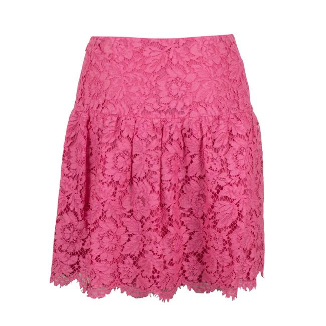 Valentino Lace Floral Embroidered Scalloped Cotton Mini Skirt Pink Image 1