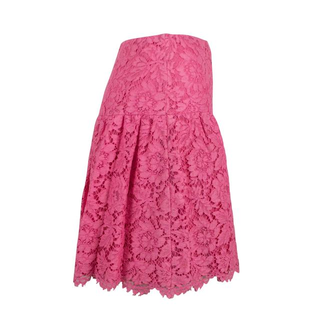 Valentino Lace Floral Embroidered Scalloped Cotton Mini Skirt Pink Image 2