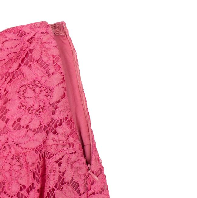 Valentino Lace Floral Embroidered Scalloped Cotton Mini Skirt Pink Image 3
