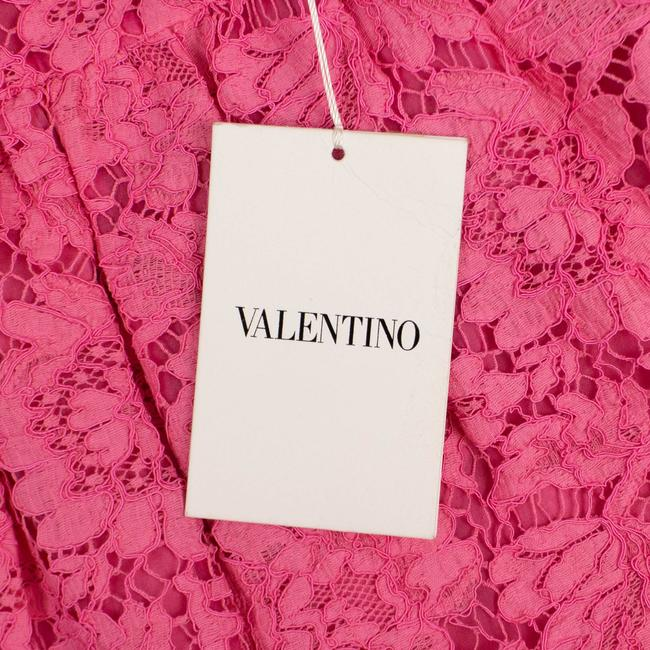 Valentino Lace Floral Embroidered Scalloped Cotton Mini Skirt Pink Image 5