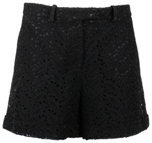 Valentino Floral Embroidered Lace Cotton Polyester Cuffed Shorts Black