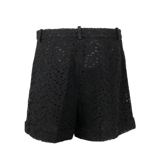 Valentino Floral Embroidered Lace Cotton Polyester Cuffed Shorts Black Image 1
