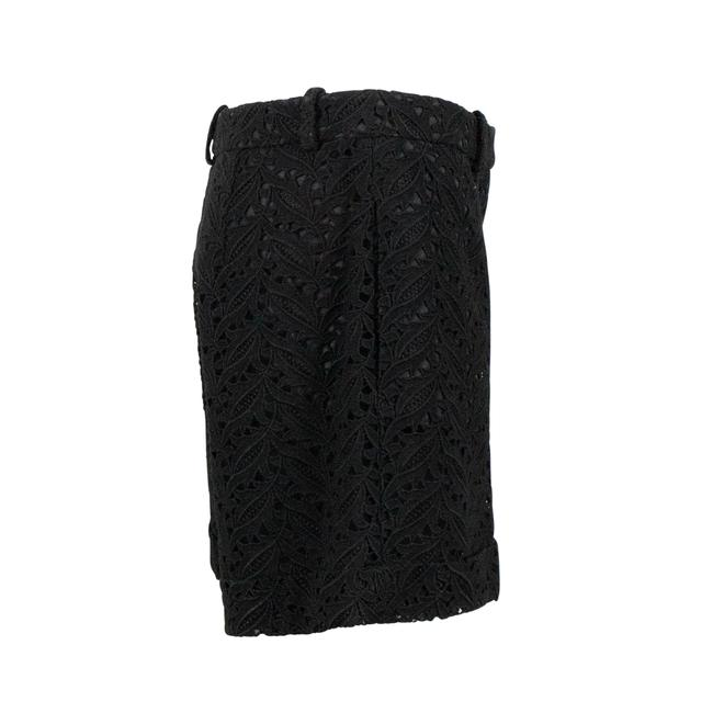 Valentino Floral Embroidered Lace Cotton Polyester Cuffed Shorts Black Image 2
