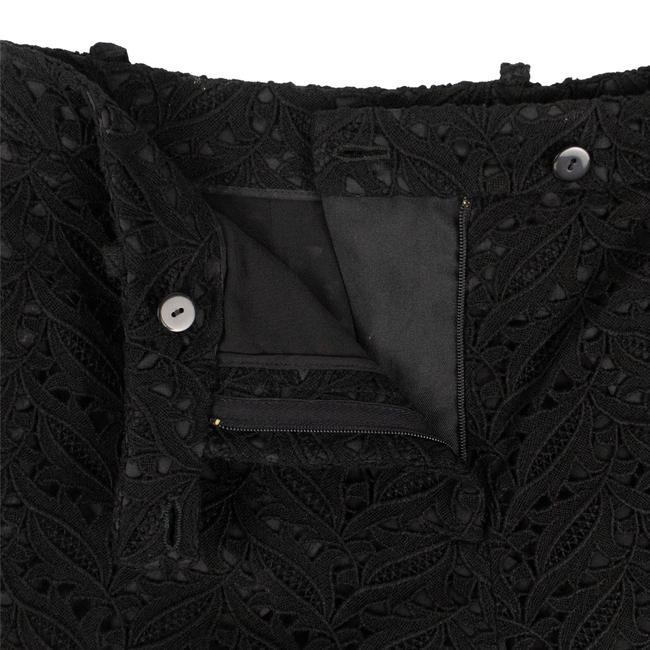 Valentino Floral Embroidered Lace Cotton Polyester Cuffed Shorts Black Image 3