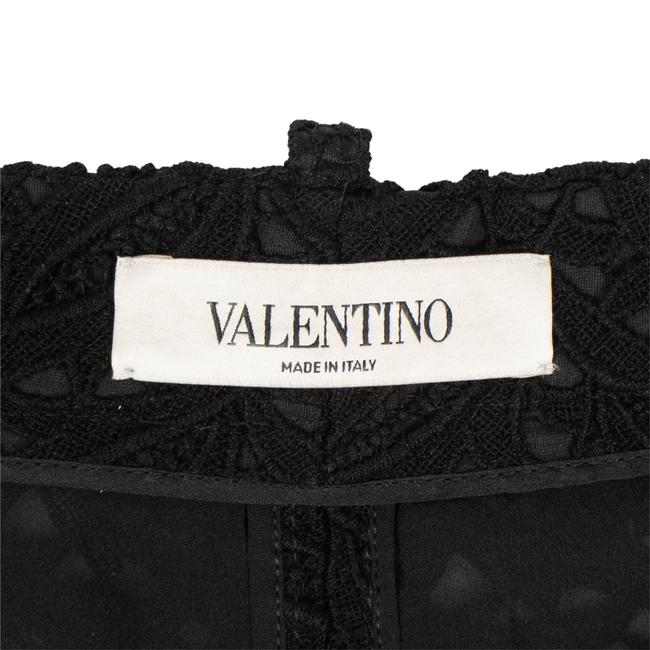 Valentino Floral Embroidered Lace Cotton Polyester Cuffed Shorts Black Image 4