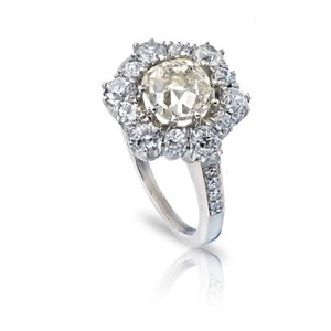 Old European 1.96ct Cushion Cut Platinum and Cut Diamond Halo Cluster Engagement Ring