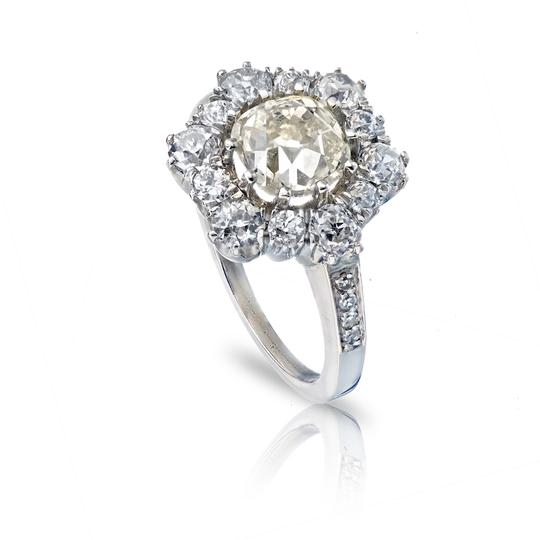 Preload https://img-static.tradesy.com/item/25657223/old-european-196ct-cushion-cut-platinum-and-cut-diamond-halo-cluster-engagement-ring-0-0-540-540.jpg