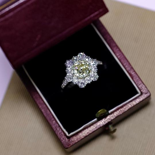 Old European 1.96ct Cushion Cut Platinum and Cut Diamond Halo Cluster Engagement Ring Image 4