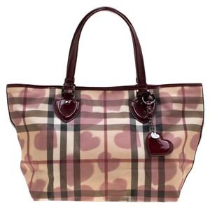 Burberry Patent Leather Canvas Tote in Burgundy