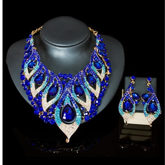 Blue & Green Blue/Green Crystal Party Choker Bib Necklace Jewelry Set Image 1