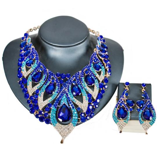 Blue & Green Blue/Green Crystal Party Choker Bib Necklace Jewelry Set Image 2