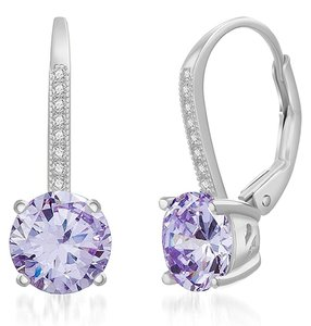 Other LIGHT AMETHYST ROUND LEVERBACK EARRINGS