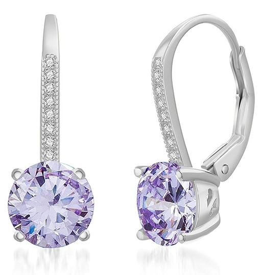 Other LIGHT AMETHYST ROUND LEVERBACK EARRINGS Image 4