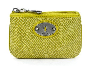 fossil Yellow Embossed Perfect Zip Coin Mineral Purse Wallet