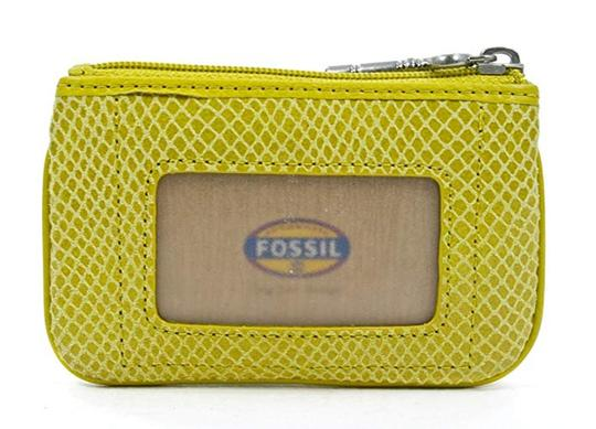 fossil Yellow Embossed Perfect Zip Coin Mineral Purse Wallet Image 1