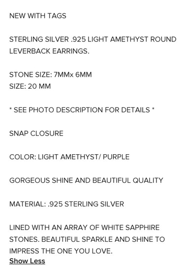 Other LIGHT AMETHYST ROUND LEVERBACK EARRINGS Image 5