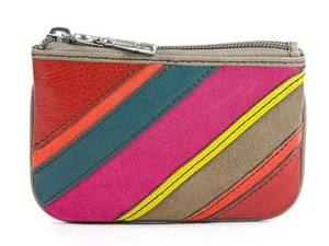 Fossil Perfect Patchwork Stripe Leather Zip Coin Purse Wallet