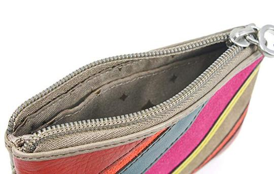 Fossil Perfect Patchwork Stripe Leather Zip Coin Purse Wallet Image 2