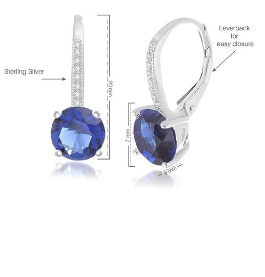 Other BLUE SAPPHIRE ROUND LEVERBACK EARRINGS Image 3
