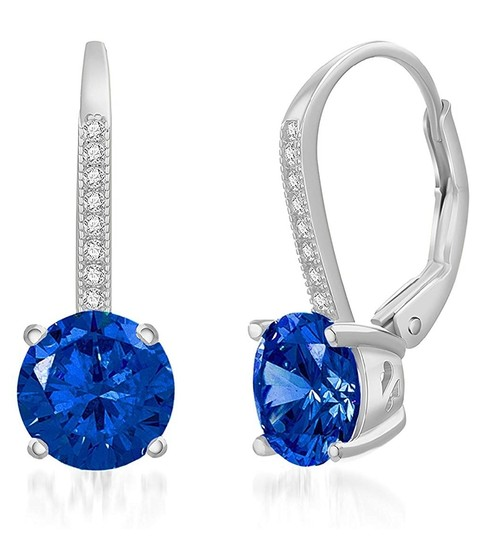 Other BLUE SAPPHIRE ROUND LEVERBACK EARRINGS Image 4