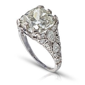 Old European 4.03ct Cushion Cut Platinum and Carved Filigree Diamond Engagement Ring
