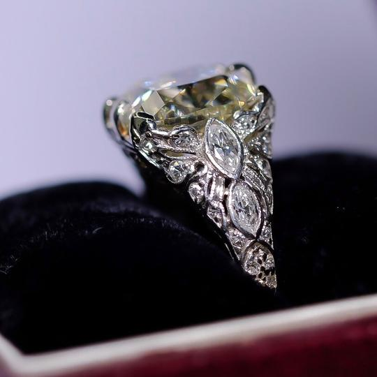 Old European 4.03ct Cushion Cut Platinum and Carved Filigree Diamond Engagement Ring Image 1