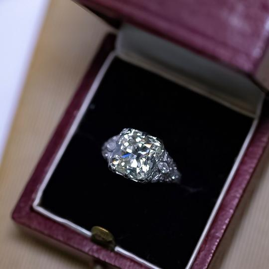 Old European 4.03ct Cushion Cut Platinum and Carved Filigree Diamond Engagement Ring Image 2
