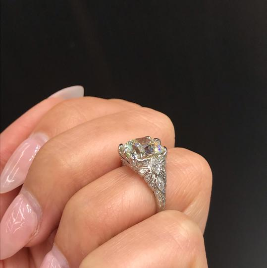 Old European 4.03ct Cushion Cut Platinum and Carved Filigree Diamond Engagement Ring Image 4