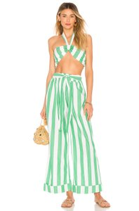 Mara Hoffman Stripe Organic Bandeau Cotton Green Halter Top