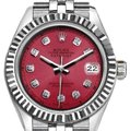 Rolex Rolex Ladies 26mm Datejust with Diamond Red Dial Watch Image 0