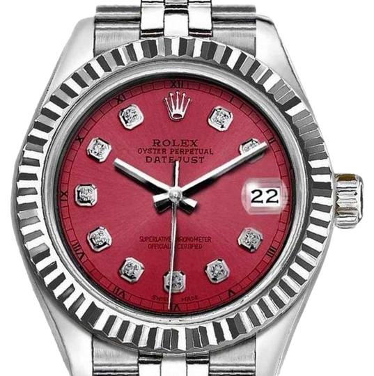 Preload https://img-static.tradesy.com/item/25657562/rolex-silver-and-red-ladies-26mm-datejust-with-diamond-dial-watch-0-1-540-540.jpg