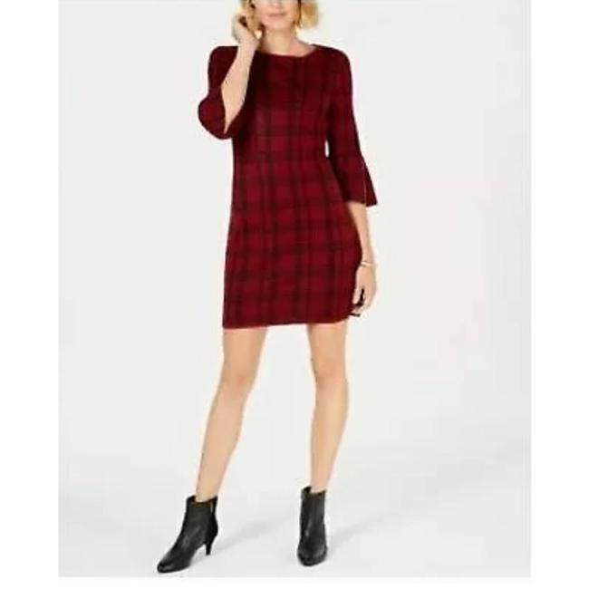 Preload https://img-static.tradesy.com/item/25657779/ny-collection-red-plaid-bell-sleeves-sweater-short-workoffice-dress-size-petite-8-m-0-0-650-650.jpg