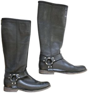 Frye Leather Stonewash Distressed Cushioned Silver Hardware Black Boots