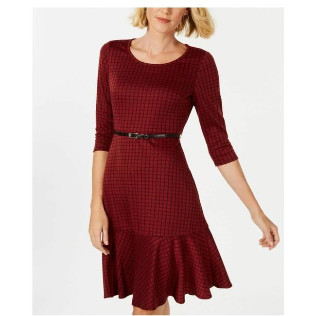 Preload https://img-static.tradesy.com/item/25657852/ny-collection-red-wine-pointe-knit-plaid-short-workoffice-dress-size-petite-8-m-0-0-650-650.jpg