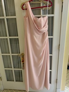 After Six Light Pink One Shoulder Gown Modern Bridesmaid/Mob Dress Size 14 (L)