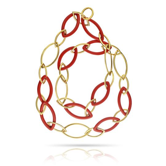Preload https://img-static.tradesy.com/item/25657986/pink-chain-18k-yellow-gold-and-reconstructed-coral-necklace-0-2-540-540.jpg