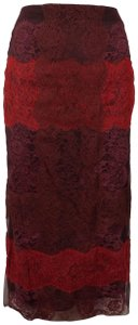 Valentino Striped Lace Detail Pencil Skirt Red