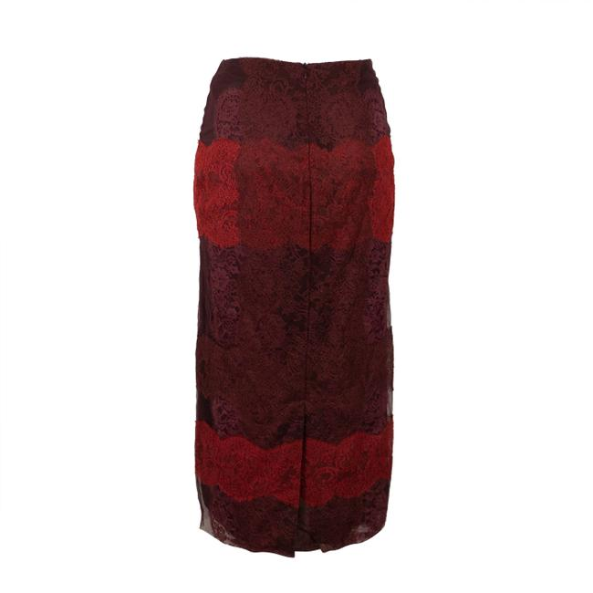 Valentino Striped Lace Detail Pencil Skirt Red Image 1