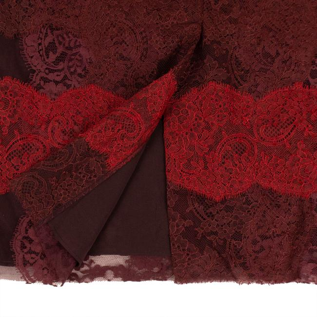 Valentino Striped Lace Detail Pencil Skirt Red Image 3