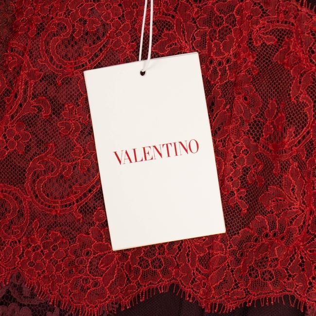 Valentino Striped Lace Detail Pencil Skirt Red Image 5