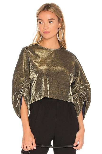 Preload https://img-static.tradesy.com/item/25658063/tibi-xs-sculpted-shirred-sleeve-evening-party-cropped-gold-sweater-0-0-650-650.jpg