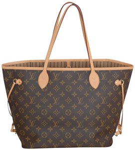 Louis Vuitton Lv Neverfull Never Full Mm Neverfull Pink Tote in Monogram w/Beige textile lining