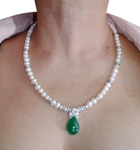 Handmade other NATURAL CULTURED PEARL & JADE NECKLACE