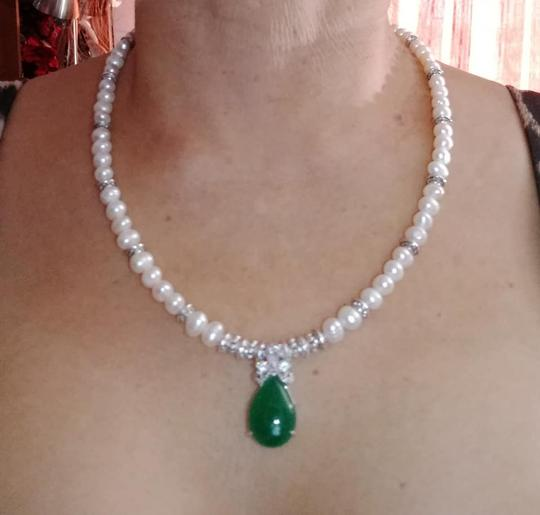 Handmade other NATURAL CULTURED PEARL & JADE NECKLACE Image 2