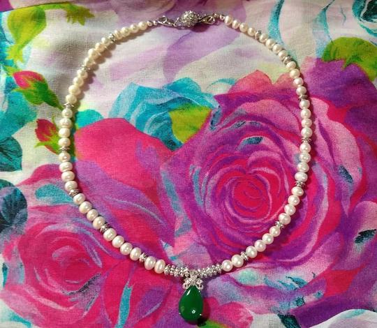 Handmade other NATURAL CULTURED PEARL & JADE NECKLACE Image 3