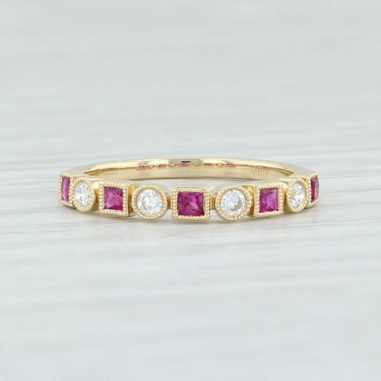Other New .42ctw Diamond & Ruby Ring - 14k Yellow Gold Size 6.75 Stackable Image 1