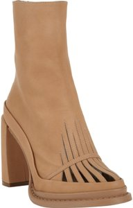 Ann Demeulemeester Cutout Mesh Leather Ankle D tan Boots